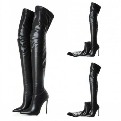 63b0e60b91f4 Details about Women Pointed Toe Patent Leather Thigh High Over the Knee  Boots Stiletto Shoes