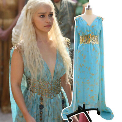 Khaleesi Dress Costume (Game of Thrones Daenerys Targaryen Khaleesi Blue Dress Women Cosplay)