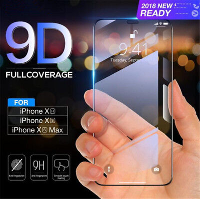 9D Curved Film Tempered Glass Screen Protector Cover for iPhone X XS XR XS MAX