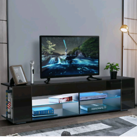 New Tv unit black inc led lights and remote