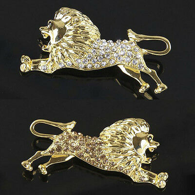 Men Fahsion Crystal Rhinstone Lion Gold Plated Brooch Lapel Pin Costum Jewelry