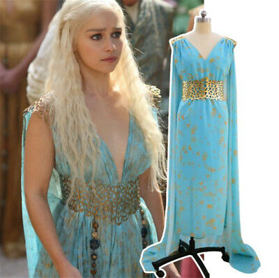 Game of Thrones Daenerys Targaryen Khaleesi Blue Long Dress Cosplay Costume - Khaleesi Blue Dress Costume