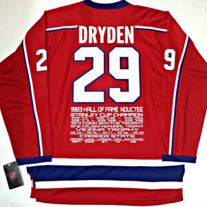 DRYDEN-ROY-PLANTE MONTREAL CANADIENS CAREER STATS/AWARDS JERSEY