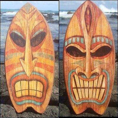 SET of 2 TIKI GOD TROPICAL HAWAIIAN ISLAND SURFBOARD SIGNS Beach Bar Wood Decor