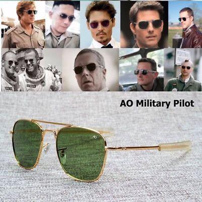 New Fashion Army MILITARY AO Pilot 54mm Sunglasses Brand American Optical Glass (Military Pilot Sunglasses)