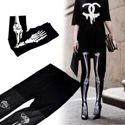 Current Skeleton White Bone Tattoo Socks Pantyhose Stocking Tights JF](Skeleton Pantyhose)