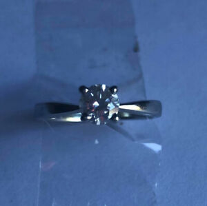 One 0.47ct Round Brilliant S12 Diamond Ring on 19kt White Gold