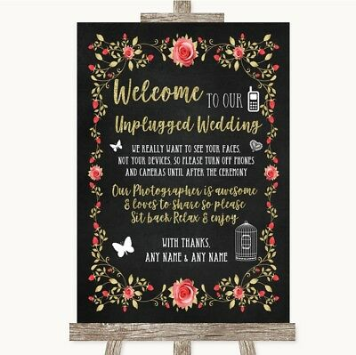 Blush Wedding Decor (Wedding Sign Chalk Style Blush Pink Rose & Gold No Phone Camera)