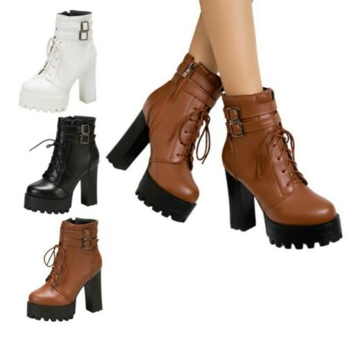 Details about  /41 42 43 Popular Women Ladies Gothic Zip Up Casual Outdoor Ankle Boots Pumps D