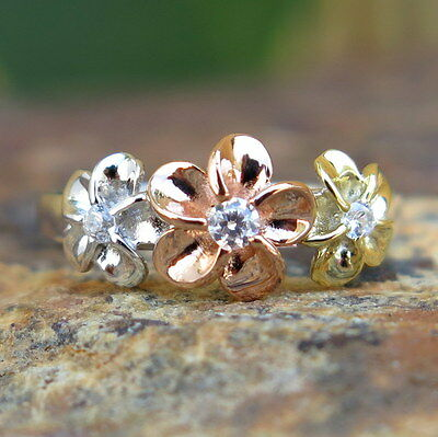 (Hawaiian Silver Tricolor Three Plumeria Flowers CZ Wedding Ring Band 8mm SR2107)