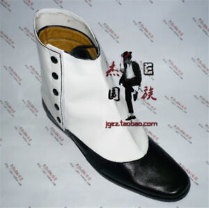 f233a5ca570 MJ Michael Jackson Smooth Criminal Spats White Shoes PU Cover Stage Show