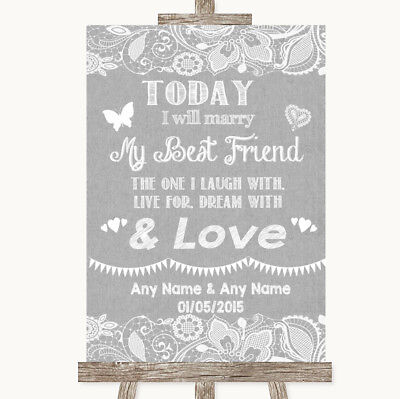 Wedding Sign Poster Print Grey Burlap & Lace Today I Marry My Best Friend](Marry My Best Friend)