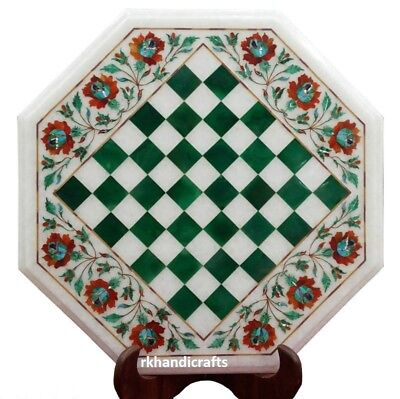 "15"" Octagon White Marble Chess Table Top Malachite Floral Design Festival Gift"