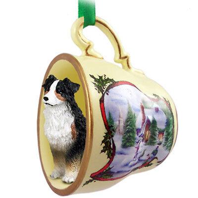 Australian Shepherd Christmas Ornament Teacup Tri-Color Australian Shepherd Christmas Ornament