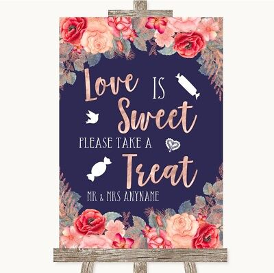 Wedding Sign Navy Blue Blush Rose Gold Love Is Sweet Take A Treat Candy Buffet