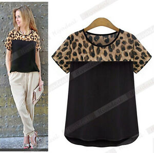 Summer Women Casual Loose Leopard Print Short Sleeve T Shirt Tops Chiffon Blouse