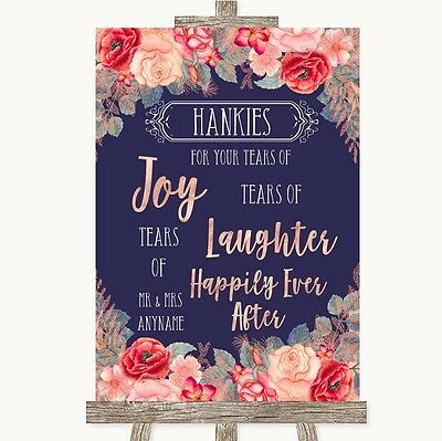 Navy Blue Blush Rose Gold Hankies And Tissues Personalised Wedding Sign (Navy Blue And Gold Wedding)