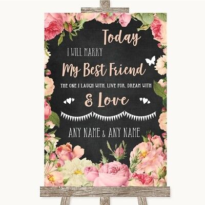 Wedding Sign Chalkboard Style Pink Roses Today I Marry My Best Friend](Marry My Best Friend)
