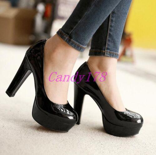 Trendy New Womens Round Toe Mary Jane Slip On High heels Dress Shoes Black US14