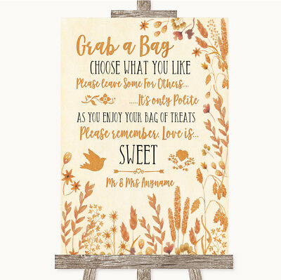 Wedding Sign Poster Print Autumn Leaves Grab A Bag Candy Buffet Cart Sweets - Fall Candy Buffet