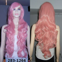 NEW Deluxe 85cm Long Solid Pink Curly Cosplay Wig (283-1266)