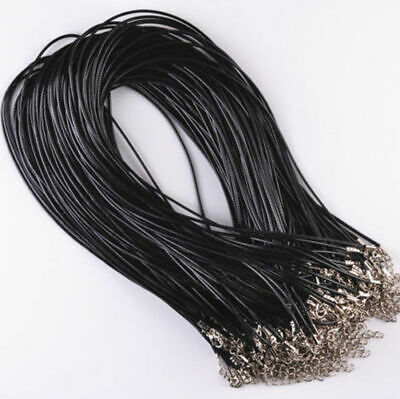 1.5 mm Thick Leather Pendant Necklace Solid Color Adjustable Chains String Cord ()