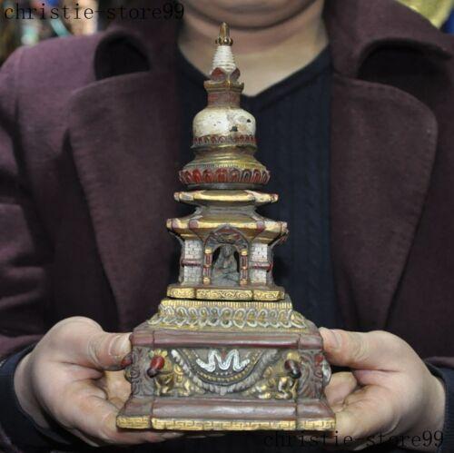 """9""""Old Tibet Buddhism temple bronze Painted Sakyamuni Buddha Stupa Pagoda Tower"""