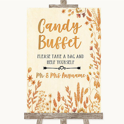 Autumn Leaves Candy Buffet Personalised Wedding Sign - Fall Candy Buffet