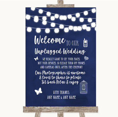 Wedding Sign Navy Blue Watercolour Lights No Phone Camera - Navy Blue Wedding