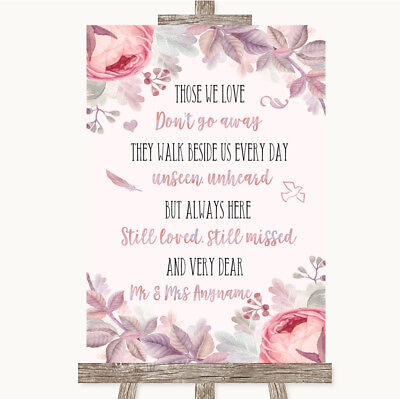 Blush Wedding Decor (Wedding Sign Poster Print Blush Rose Gold & Lilac In Loving)