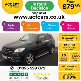 2013 BLACK MERCEDES ML250 2.1 CDI AMG SPORT DIESEL AUTO CAR FINANCE FROM 79 PW