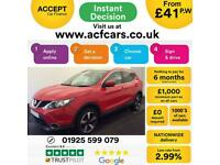 2016 RED NISSAN QASHQAI 1.6 DCI 130 N-TEC+ DIESEL HATCH CAR FINANCE FR £41 PW, used for sale  Warrington, Cheshire