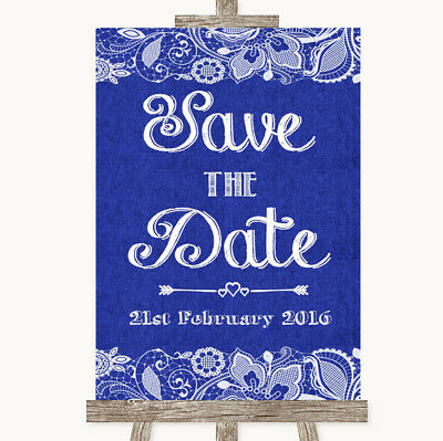 Wedding Sign Poster Print Navy Blue Burlap & Lace Save The - Navy Blue Wedding