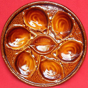 VINTAGE FRENCH SAINT CLEMENT AMBER MAJOLICA OYSTER PLATE C 1950