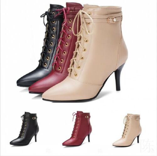 Womens Stilettos High Heel Pointed Toe Ankle Boots Lace Up Buckle Shoes Clubwear