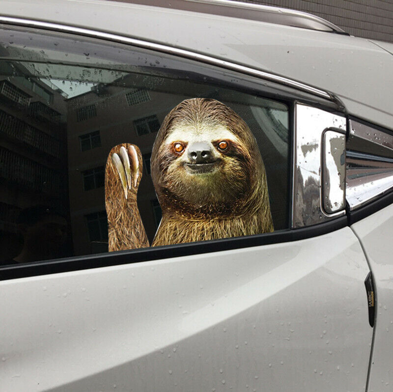 Car Window Sticker Person Size Passenger Side Left Sloth Waving Funny Universal#