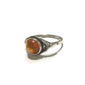 Silver with Baltic Amber Ring