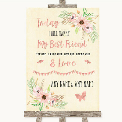 Wedding Sign Poster Print Blush Peach Floral Today I Marry My Best Friend](Marry My Best Friend)