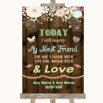 Wedding Sign Poster Print Rustic Floral Wood Today I Marry My Best Friend](Marry My Best Friend)