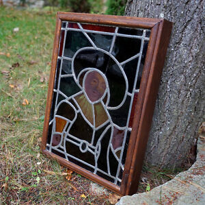 """Stained Glass in wood frame 15"""" w x 21"""" h"""