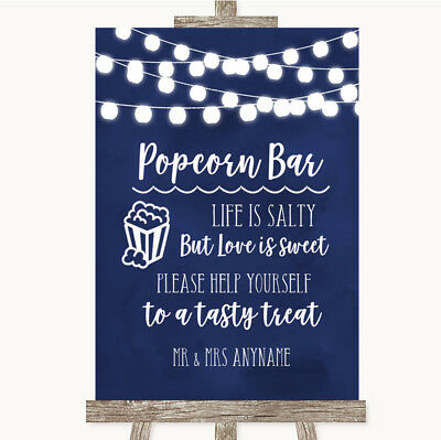 Wedding Sign Poster Print Navy Blue Watercolour Lights Popcorn - Navy Blue Wedding