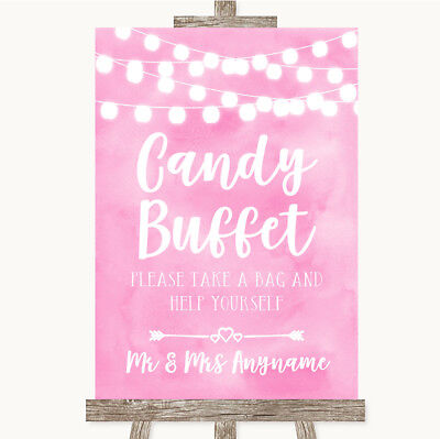 Wedding Sign Poster Print Baby Pink Watercolour Lights Candy Buffet](Baby Candy Buffet)