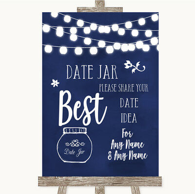 Wedding Sign Poster Print Navy Blue Watercolour Lights Date Jar - Navy Blue Wedding