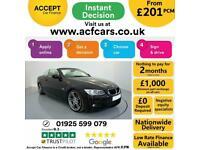 2013 BLACK BMW 320D 2.0 M SPORT AUTO 2DR CONVERTIBLE CAR FINANCE FR £201 PCM