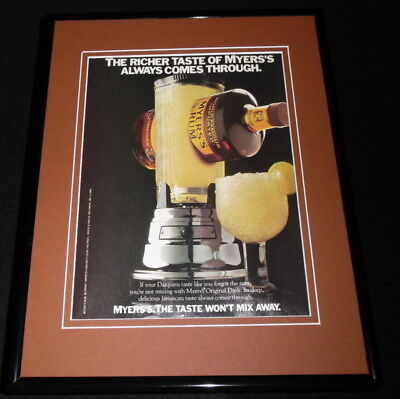 1988 Myers Original Dark Rum Framed 11x14 ORIGINAL Advertisement
