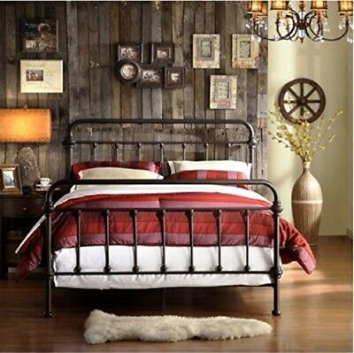 Iron Bed Frame Queen Size Farmhouse Chic Victorian Classic Rustic Country Style  Country Queen Size Bed