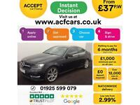 2012 BLACK MERCEDES C180 1.8 CGI AMG SPORT PETROL COUPE CAR FINANCE FROM 37 P/W