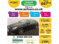 2015 BLACK MERCEDES E220 2.1 AMG LINE DIESEL AUTO COUPE CAR FINANCE FROM 67 P/WK