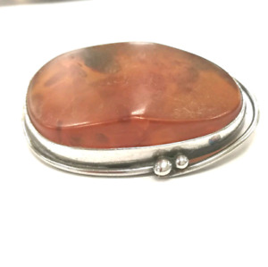 Genuine Baltic Amber and Sterling Silver Brooch.
