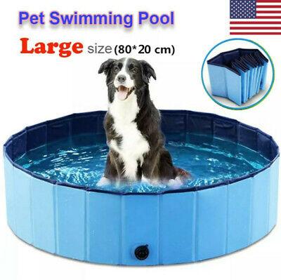 Large Foldable Pet Bath Dog Swimming Pool Garden Paddling Puppy Cat Kids Bathtub